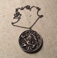 Antique Art Nouveau Sterling Silver Lady In Flower Pin Pendant Necklace