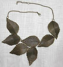 modernes wunderschönes Collier Kette große Blätter bronzefarben NEU