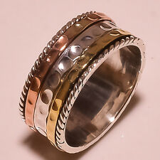 SOLID 925 STERLING SILVER SPINNER RING TWO TONE SPINNING WIDE BAND SPIRAL S-  9