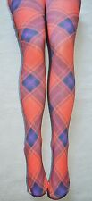 Red & Blue Tights S/M opaque print Plaid Festival Goth Punk