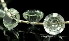 7MM GREEN AMETHYST GEMSTONE FACETED ROUND BRIOLETTE LOOSE BEADS 5 BEADS