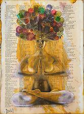 Nude / Woman / Meditation / Yoga / Original Ink on Old Book Page by Hahonina