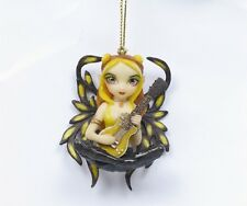 JASMINE BECKET-GRIFFITH - GOLDEN GUITAR STRANGELING FAIRY ORNAMENT FIGURINE.CUTE