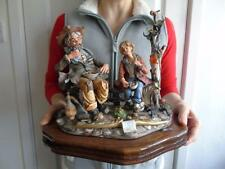 Large Capodimonte Group Figurine of Tramps Eating on Wooden Stand by Sartori 13""