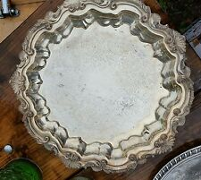Vintage Wallace Chippendale Footed Round Silver Plated Tray