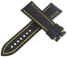 Authentic Blancpain 23x 20mm Black Leather Yellow Stitching Watch Band Strap
