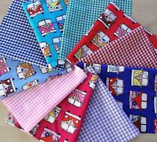 5 campervan cotton and polycotton patchwork, craft ,remnant, material,  fabric