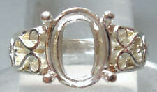 Sz.7  PRE-NOTCHED SOLID 925 SILVER 9×11 mm OVAL RING MOUNT / SETTING #R611