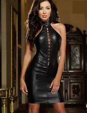 Dress Womens Black Faux Leather Lace_Up Front Role Play Dominatrix Club  M New