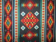 Navajo Indian Beaded Like Floral Black Border Print Cotton Fabric FQ