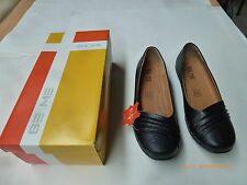 Be Me Sasha W14 Black Crinkle SM Women's Leather Shoe Rubber Sole Size 9/40 New