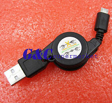 USB 2.0 to Micro USB Retractable Cable Data Sync Charging Charge Cord Black