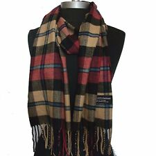 New 100% Cashmere Scarf Rose/Camel/Black check Plaid Wool Soft Unisex #C903