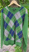 J.Crew Men's 100% Lambs Wool Long Sleeve Pull Over Sweater Green Multi-Color (L)
