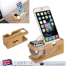 Desktop Wood Stand Holder Charging Dock Station For Apple Watch iPhone 6S 7 PLUS
