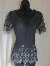 FOR LOVE & LIBERTY Women's SILK Gray Silver Embroidered Sheer Boho Top S Small
