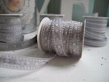 5m silber Chiffon Webband Ribbon Ripsband Schleifenband Bänder Dekoband Shabby