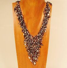 Bohemian Flapper Style Handmade Multi Color Stone Chip Seed Bead Necklace