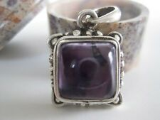Amethyst Silver Pendant ~ Himalayan art, Square cabochon