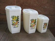 Set of Three Vintage/Retro Plastic Canisters with Veg. Design.. Narrow Fit..