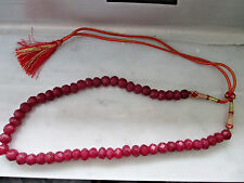 ANTIQUE STYLE  303.00 CTS NATURAL RED RUBY ROUND FACETED BEADS NECKLACE STRAND