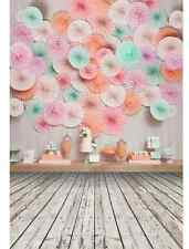 5x7FT Paper Flowers Candy Jars Baby Shower Wood Photo Studio Background Backdrop