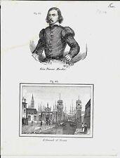 1837ca GIAN TOMMASO MORCHIO- ARSENALE VENEZIA 2 litografie Magazzino Pittorico