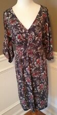 Garnet Hill Size S 3/4 Sleeve V-Neck Empire Waist Dress In Grays & Red Floral