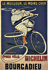 Art Ad Pneu Velo Michelin  man 1912 Tyres Tires  Deco  Poster Print