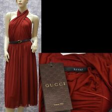GUCCI New sz M Authentic Designer Cocktail Evening Party Dress w Bamboo belt