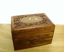 "Hand Carved Wood Aromatherapy Essential Oil Storage Box with Brass Inlay 6"" x 4"""