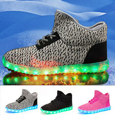NEW Casual Sneaker Sport Kids boys girls Winter LED Shoes Light Lace Up Luminous