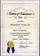 ROLLING STONES REPRO 1969 KEITH RICHARDS HONKY TONK WOMEN BMI CERTIFICATE NOT CD
