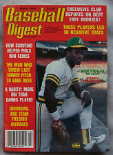 March 1981 Baseball Digest No Label Rickey Henderson Oakland A's