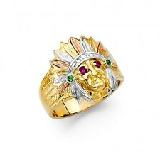 EJMR34315 - Solid 14K Tricolor Gold Indian Chief Ring for Men