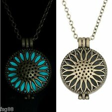 New Glow in the Dark Round Sun Flower Metal Chain Locket Necklace Pendant