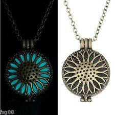 New Glow in the Dark Round Sun Flower Metal Chain Locket Necklace Pendant