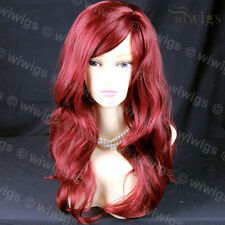 Wonderful wavy Long Burgundy Red Curly Heat Resistant Hair Ladies Wigs WIWIGS UK
