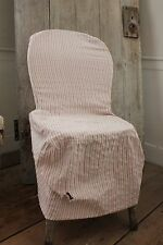 Antique French CHAIR SLIP COVER slipcover red white ticking fabric c1900