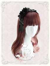 Handmade Lolita Rose Flower Headband Gothic Cosplay Maid Fascinator - black
