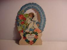 Vintage Victorian 1910 German Pull-Down/Pop-Up CHRISTMAS Card w/Girl Angel+Doves