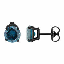 VINTAGE STYLE 14K BLACK GOLD ENHANCED BLUE DIAMOND STUD EARRINGS 1.96 CARAT