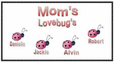 Mom's Love Bugs ladybug  checkbook cover personalized  children names