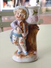 Antiguo Conte Boehme Alemán De Porcelana Niño Figura Estatuilla Candelabro