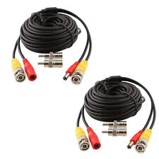 2X 200ft 60M BNC DC RCA Audio Video Power Cable for CCTV Security Camera System