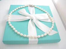 Tiffany & Co Silver Pearl Necklace Pendant Strand Excellent Box Pouch Card