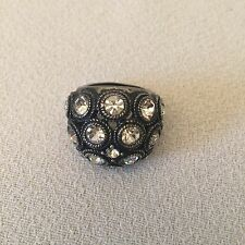 Premier Designs TIME SQUARE Crystal Ring Antiqued Matte Silver Plated Size 7