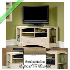 "Sauder Corner TV Stand 60"" Console Table Stands for Flat Screens, Antiqued White"