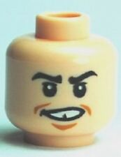 LEGO - Minifig, Head Male Black Eyebrows & Grin Missing Tooth (Marcus Flint)