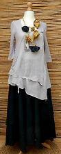 ZUZA BART*DESIGN AMAZING BEAUTIFUL ASYMMETRICAL LINEN LONG TUNIC*LAVENDER*LARGE